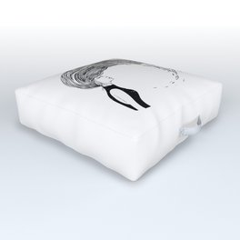 woman splashing and throwing back long wet hair cute creatures doodle by shoosh Outdoor Floor Cushion