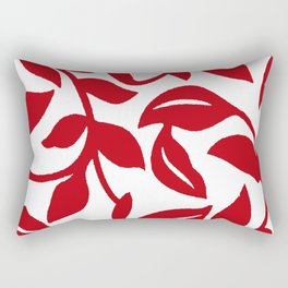 LEAF PALM VINE IN RED AND WHITE PATTERN Rectangular Pillow