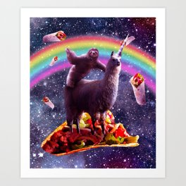 Space Sloth Riding Llama Unicorn - Taco & Burrito Art Print