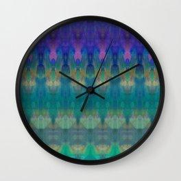 Tribal Diamonds Watercolour Blue Wall Clock