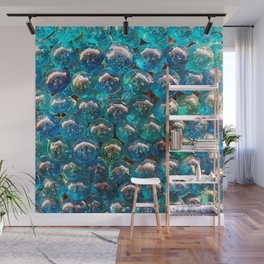 Turquoise Blue Glass Marbles Texture Wall Mural