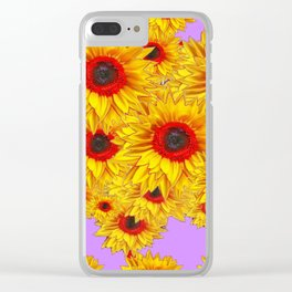 Lilac Purple & Red Center Sunflowers Pattern Clear iPhone Case