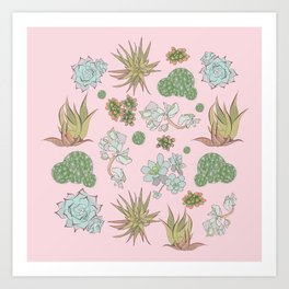 Pastel Succulents and Cacti Art Print