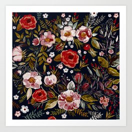 Vintage & Shabby Chic - Country Floral Art Print