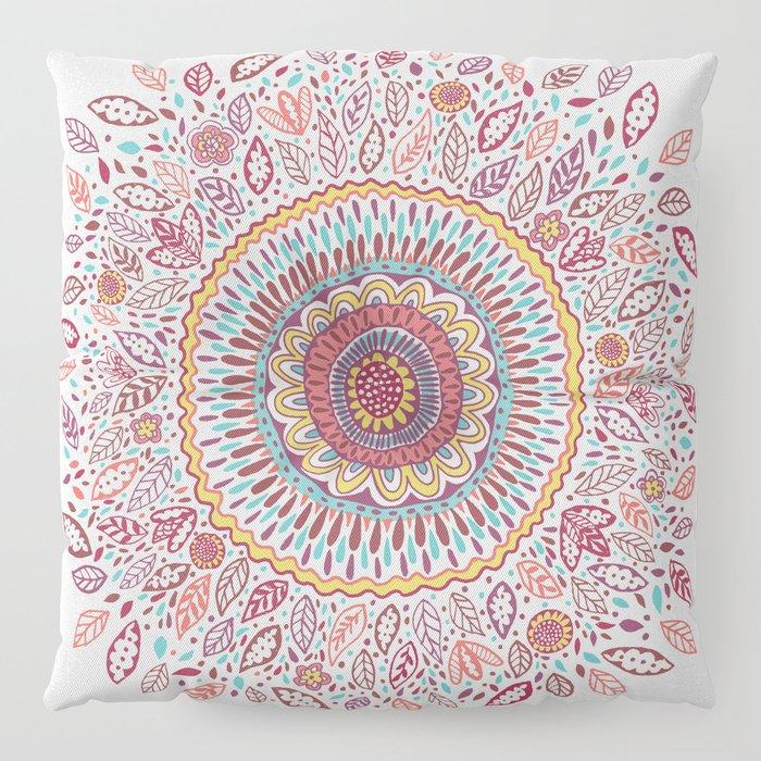 Sunflower Mandala Floor Pillow