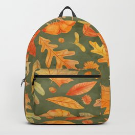 Give Thanks Green Autumn Watercolor Leaves Backpack