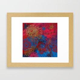 Multi-Media Henna Mehndi Print Red Pink Turquoise Framed Art Print