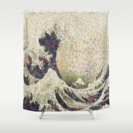 The Great Wave Of Honeydew Melon After Hokusai Shower Curtain