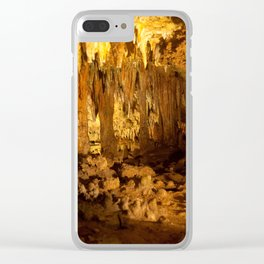 Cave with stalagmites and stalactites, a study of light and darkness Clear iPhone Case