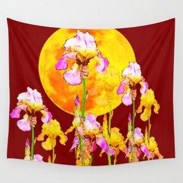 BURGUNDY SKY IRIS GARDEN RISING GOLDEN MOON Wall Tapestry