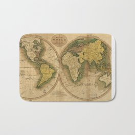 Vintage Map of The World (1795) 2 Bath Mat