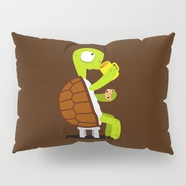 Turtle drinking tea with cookies. Pillow Sham
