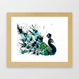 Peacock profile ink splatter Framed Art Print