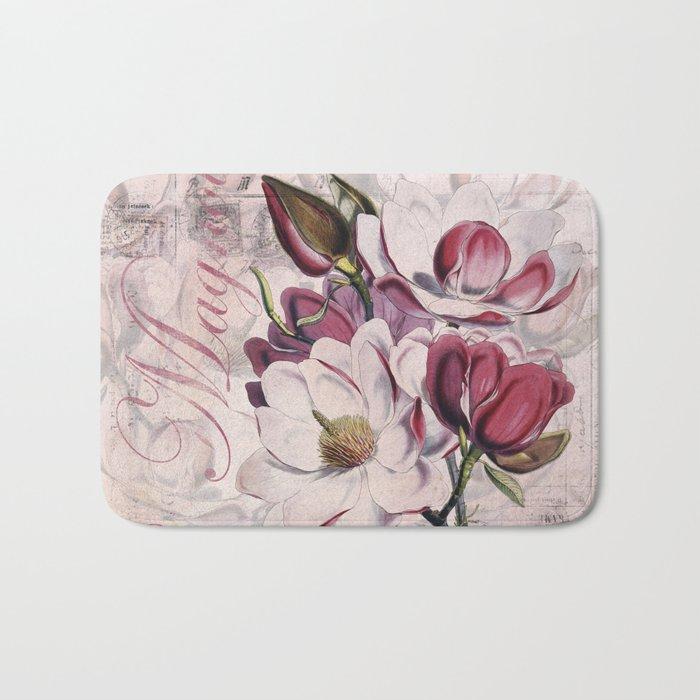 Vintage Magnolia flower illustration Bath Mat