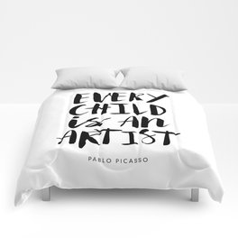 Every Child is an Artist black-white kindergarten nursery kids childrens room wall home decor Comforters