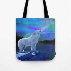 Arctic Prayer - White Wolf and Aurora Tote Bag