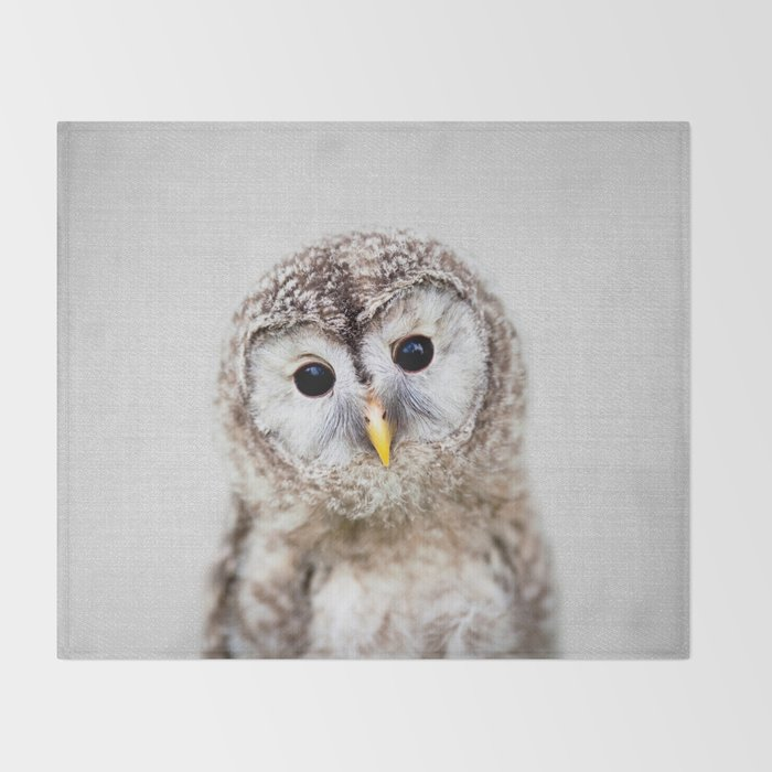 Baby Owl - Colorful Throw Blanket