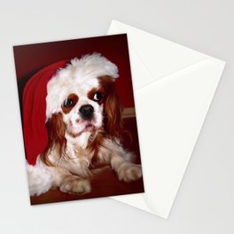 Santa Cavalier Spaniel Puppy Stationery Cards