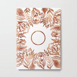 Letter O - Faux Rose Gold Glitter Flowers Metal Print