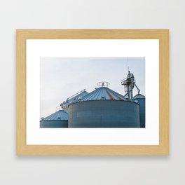 Grain Bins on the Farm Framed Art Print