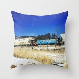 Blue Graffiti Throw Pillow