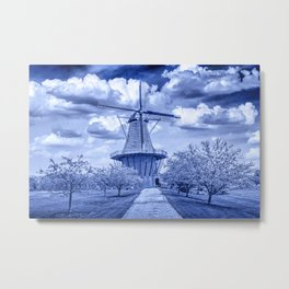 Delft Blue Dutch Windmill Metal Print