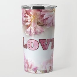 Pink Peonies Shabby Chic Romantic Love Heart Print Home Decor Travel Mug