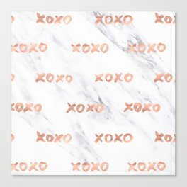 XOXO Text Rose Gold on Marble Canvas Print