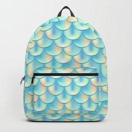 Teal Green Mermaid Pattern, Holographic Fish Scale Print Backpack