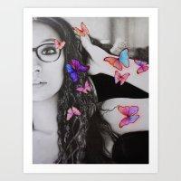 self-portrait with butterflies Art Print