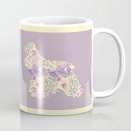 American Cocker Spaniel Vintage Floral Pattern Mauve Lilac Lavender Cream Coffee Mug