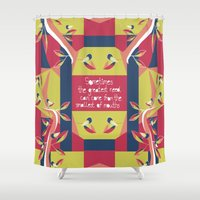 matisse Shower Curtains featuring Black Robin - Matisse Inspired by MadexDesigns