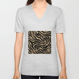 Elegant Metallic Gold Zebra Black Animal Print Unisex V-Neck