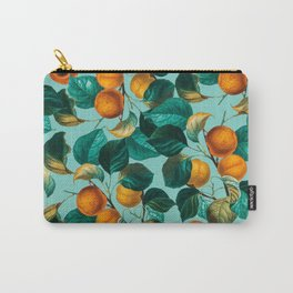 Peach and Leaf Pattern Carry-All Pouch