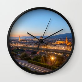 FLORENCE ITALY AT NIGHT PHOTO - EUROPE IMAGE - CITYSCAPE PHOTOGRAPHY Wall Clock