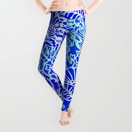 Jungle Garden, Blue Leggings