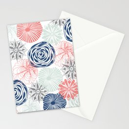 Floral Pattern in Coral Red, Navy Blue and Aqua Stationery Cards