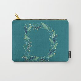 Turquoise flowers alphabet D Carry-All Pouch