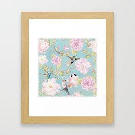 Pastel Teal Vintage Roses and Hummingbird Pattern Framed Art Print