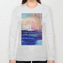 Flourescent Waterfall Painting. Waterfall, Abstract, Blue, Pink. Water. Jodilynpaintings. Long Sleeve T-shirt