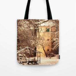 Wintry mood at the castle garden of Laupheim Tote Bag