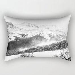 Fresh Snow Dust // Black and White Powder Day on the Mountain Rectangular Pillow