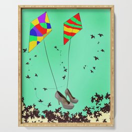 Flying Kites in May with May - shoes stories Serving Tray