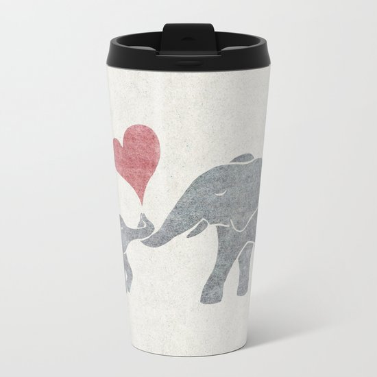 Elephant Hugs Metal Travel Mug