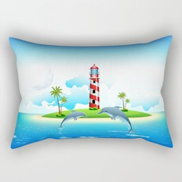 Jumping Dolphin on Sea Rectangular Pillow