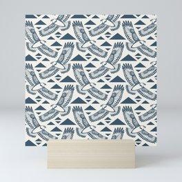 The Hawk's Flight_ Beige and Blue Mini Art Print