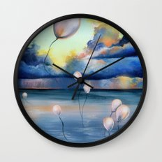 Balloons Over Water Wall Clock