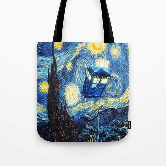 Tardis Doctor Who Starry Night Tote Bag