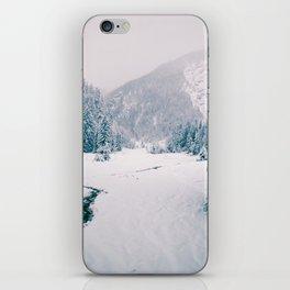 Snowfall in the italian alps iPhone Skin