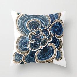 Blue Trametes Mushroom Throw Pillow
